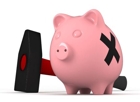 3d render of pink pig money box and hammer photo