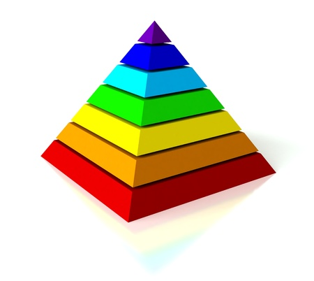Abstract 3d render of pyramid over white background Archivio Fotografico