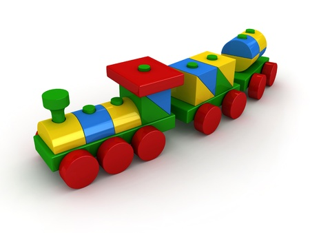 toy train: 3d render of toy train over white background