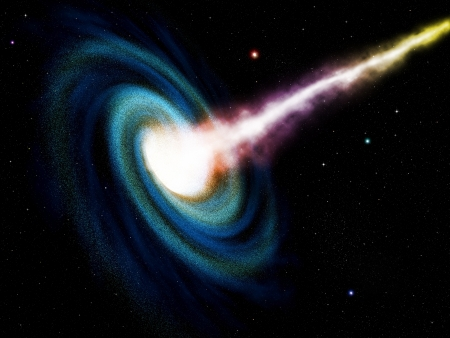 Computer generated black hole swallowing galaxy