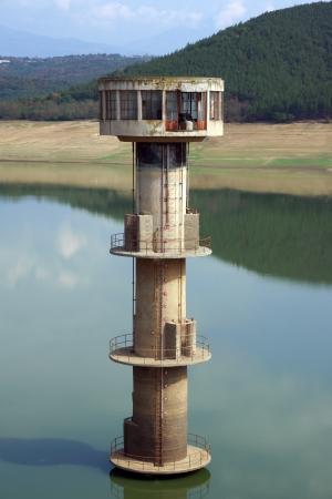 intake: water intake tower in empty dam
