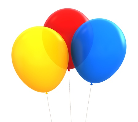 3d render of different colours party baloons