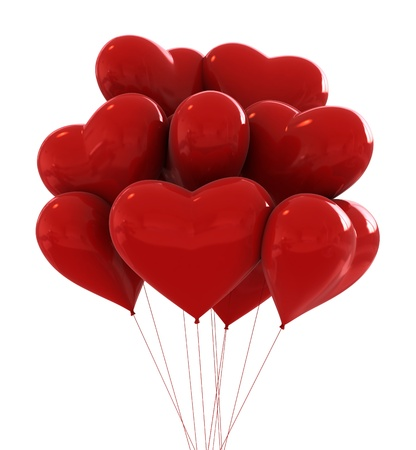 3d render of red colours party baloons heart shaped