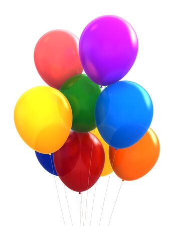 baloons: 3d render of different colours party baloons