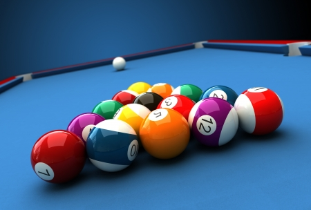 pool table: 3d render of billiard balls and table Stock Photo