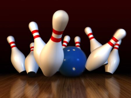 bowl game: 3d render of bowling strike with motion blur simulation Stock Photo