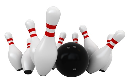 bowling pin: 3d render of bowling strike isolated over white background Stock Photo
