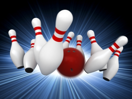 bowling: 3d render of bowling strike with motion blur simulation Stock Photo