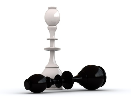bishop chess piece: 3d render of black and white chess kings