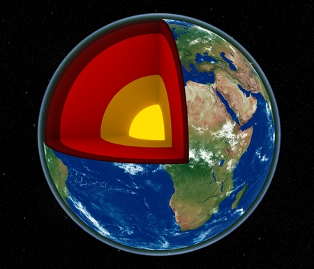 earth core: 3d render of Earth cross section showing its internal structure Stock Photo