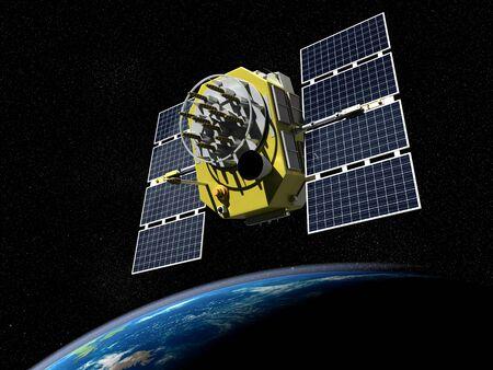 3d render of GPS satelite in orbit around the Earth photo