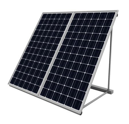 PLACAS SOLARES: Los paneles solares aislados sobre fondo blanco Foto de archivo