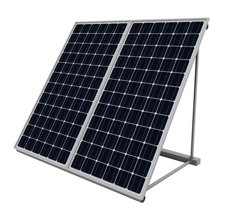 solar collector: Solar panels isolated over white background
