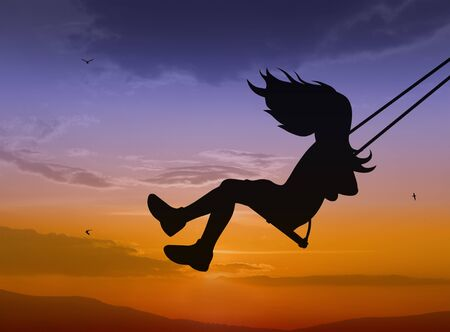 playtime: Swinging child silhouette on sunset background Stock Photo