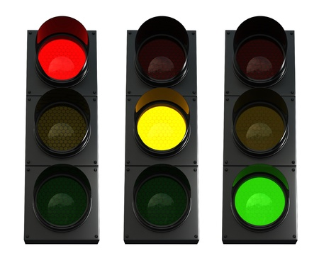 traffic lights: 3d render of traffic lights isolated over white background
