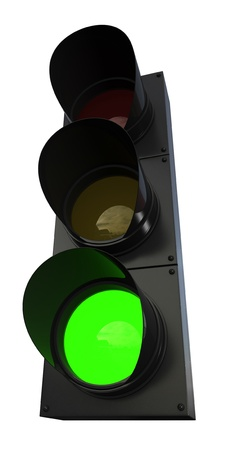 3d render of traffic lights isolated over white background photo