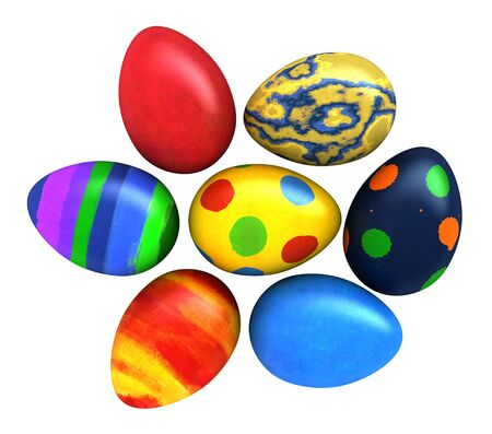 pasch: 3d render of Easter eggs isolated over white background Stock Photo