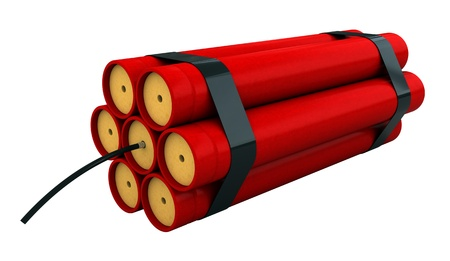 3d render of dynamite stick isolated over white backround