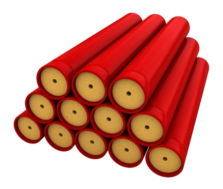 blasting: 3d render of dynamite stick isolated over white backround