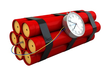 3d render of dynamite stick isolated over white backround photo