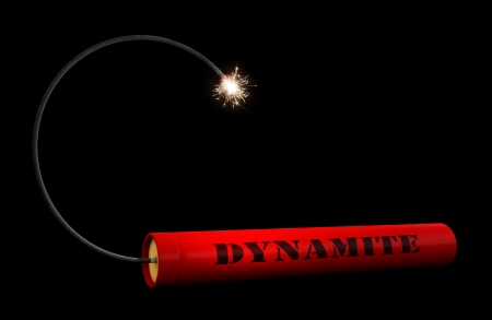 explosives: 3d render of dynamite stick over black backround