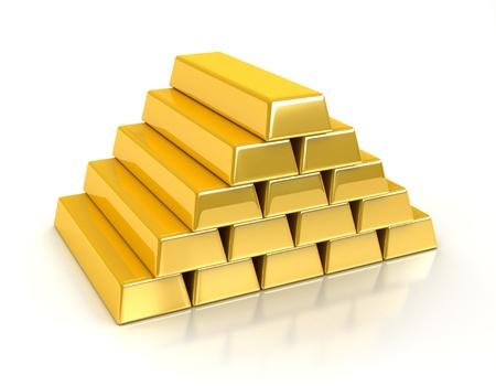 ingots: Gold bullions on white background