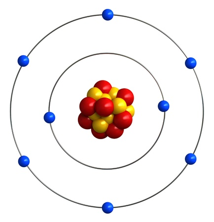 neutrons: 3d render of atomic structure of oxygen