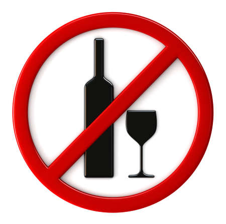 interdict: 3d render of alcohol not allowed sign