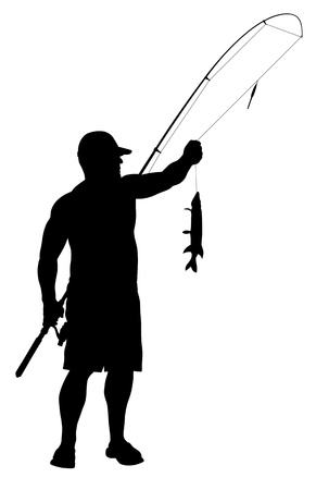 pecheur: Illustration de la silhouette de pêcheur