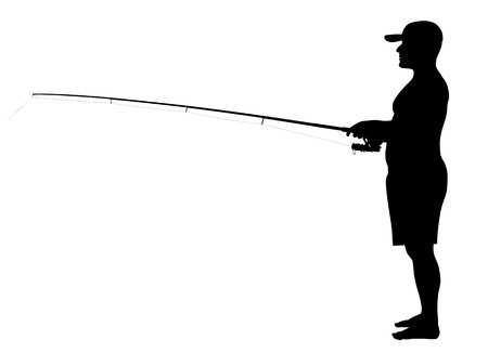 illustration of fisherman silhouette Vector