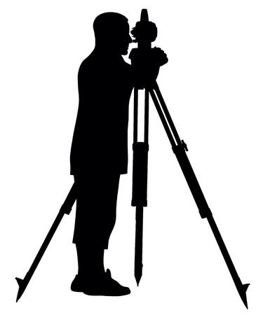 surveyor: Resumen de la ilustración de la silueta agrimensor Vectores