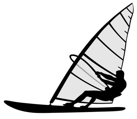 Résumé illustration de la planche à voile silhouette homme