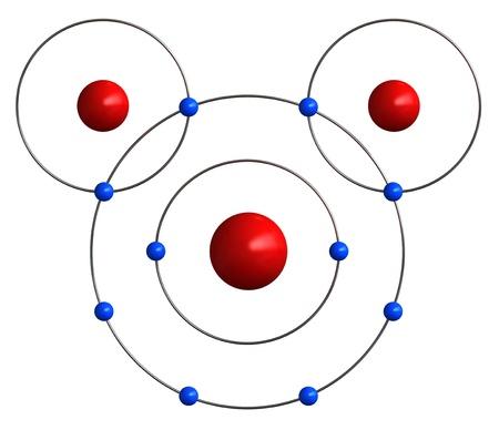 wasserstoff: 3d render der molekularen Struktur des Wassers