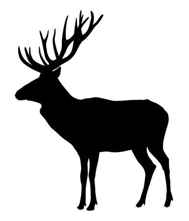 Vector illustration of deer silhouette Vettoriali