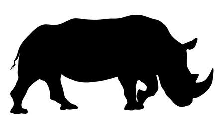 Vector illustration of rhinoceros silhouette
