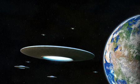 3d render of flyng saucers around the Earth Stock Photo - 23424324