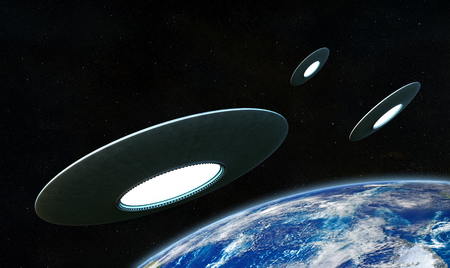 incursion: 3d render of flyng saucers around the Earth Stock Photo