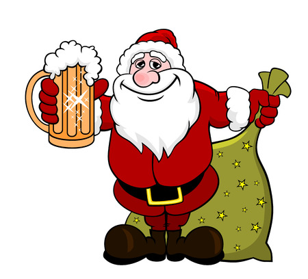 Vector illustration of cartoon Santa Claus with tankard in hand