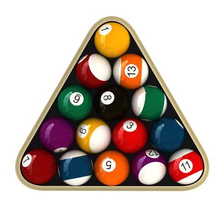 cue sports: 3d render of billiard balls isokated over white