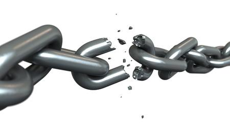 break chain: 3d render of breaking chains over white