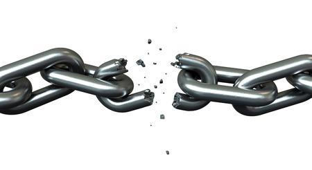 roto: 3d de rompiendo cadenas sobre blanco