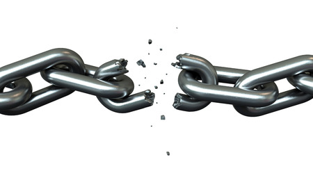 linkage: 3d render of breaking chains over white