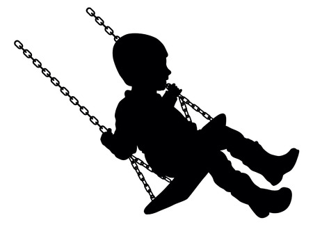 kids playing outside: Vector illustration of swinging child silhouette