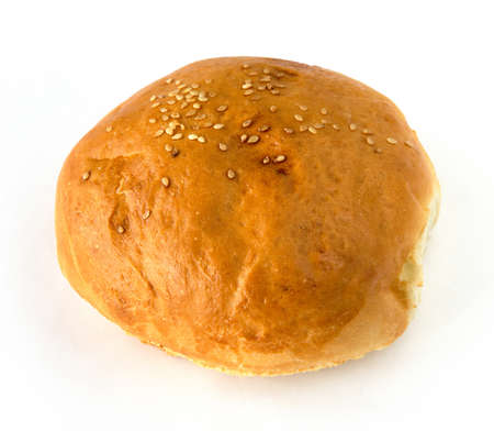 Bread roll over white background photo