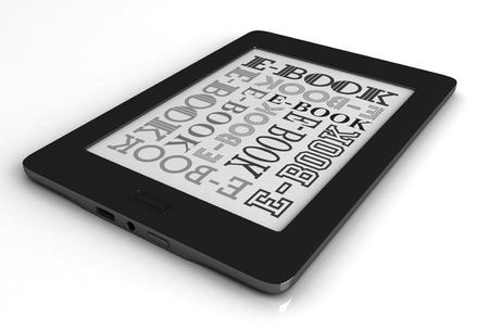 3d render of reader electronic book over white background photo