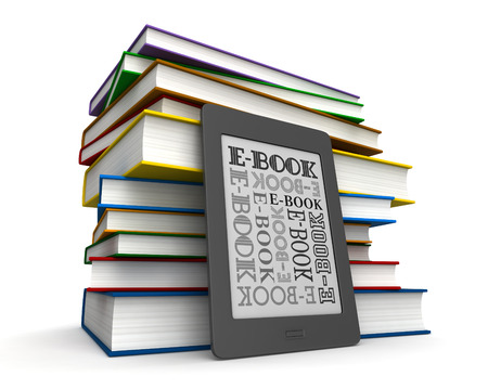 ebook cover: 3d render of reader of books and electronic book over white background