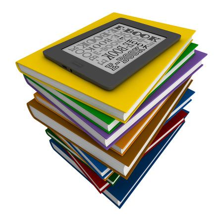 흰색 배경 위에 책과 전자 책의 독자의 3D 렌더링