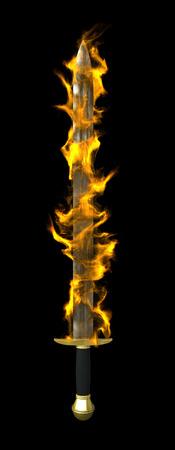 espadas medievales: 3d de la espada en llamas más de fondo negro