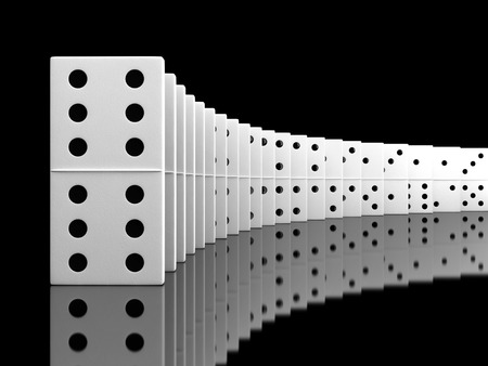 chain reaction: 3d render of white domino blocks over black background
