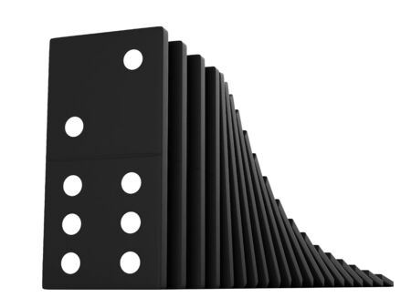 domino effect: 3d render of black domino blocks over white background